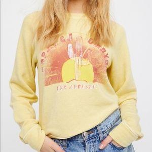 Free People Yellow Cosmo Pullover Sweatshirt Sz S